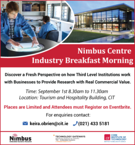 Nimbus Centre industry breakfast morning Sept 1st